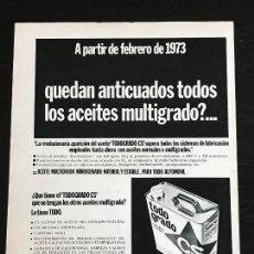 Coches y Motocicletas: ACEITE CS CALVO SOTELO TODO GRADO LATA LUBRICANTE - ANUNCIO PUBLICIDAD REVISTA RECORTE. Lote 122168659
