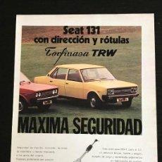 Coches y Motocicletas: DIRECCION ROTULAS TORFINASA TRW PAMPLONA - SEAT 131 - ANUNCIO PUBLICIDAD REVISTA RECORTE. Lote 122168799
