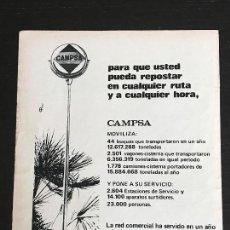Coches y Motocicletas: CAMPSA COMBUSTIBLES Y LUBRICANTES - ANUNCIO PUBLICIDAD REVISTA RECORTE - GASOLINA ACEITE NO LATA. Lote 122168867