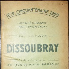 Coches y Motocicletas: CATÁLOGO DISSOUBRAY DE PIEZAS PARA TRANSMISIONES. ORIGINAL DE 1929.. Lote 122215559