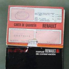 Coches y Motocicletas: MANUAL DE MANTENIMIENTO RENAULT 8 +CARTA DE GARANTIA PROPIETARIO 1972 Y CARPETA ORIGINAL DE LA ÉPOCA. Lote 159574897