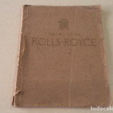 Coches y Motocicletas: CATÁLOGO THE 40-50 H.P. ROLLS-ROYCE. Lote 123164035
