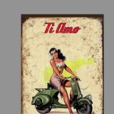 Coches y Motocicletas: AZULEJO 20X30 DE VESPA TIPO VINTAGE. Lote 124539323