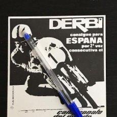 Coches y Motocicletas: DERBI 2º CAMPEONATO DEL MUNDO ANGEL NIETO - RECORTE PRENSA REVISTA ANUNCIO PUBLICIDAD. Lote 125098547