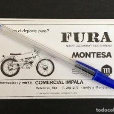 Coches y Motocicletas: MONTESA FURA CICLOMOTOR COMERCIAL IMPALA BARCELONA - RECORTE PRENSA REVISTA ANUNCIO PUBLICIDAD. Lote 125099587