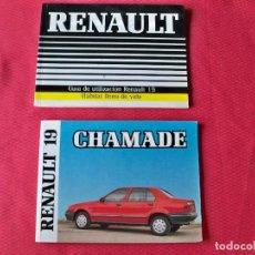 Coches y Motocicletas: 2 MANUALES DE EMPLEO DEL RENAULT 19 Y RENAULT 19 CHAMADE DE LOS AÑOS 1989 . Lote 126462559
