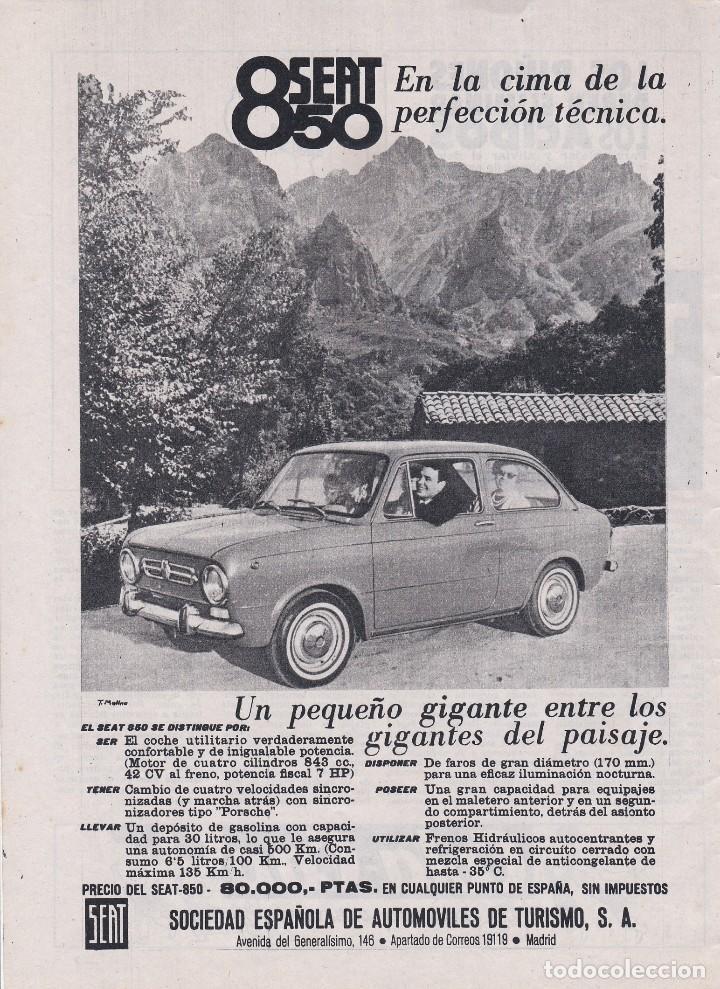 PUBLICIDAD 1966. ANUNCIO COCHE SEAT 850 (Coches y Motocicletas Antiguas y Clásicas - Catálogos, Publicidad y Libros de mecánica)