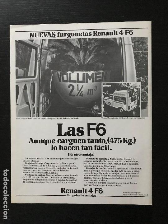 RENAULT 4 F6 - ANUNCIO RECORTE PUBLICIDAD DE REVISTA -NO FOTO POSTER FOLLETO CATALOGO MANUAL (Coches y Motocicletas Antiguas y Clásicas - Catálogos, Publicidad y Libros de mecánica)