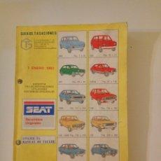 Coches y Motocicletas: SEAT 850, 127, 124, 131, 132 RITMO, RONDA, PANDA. GUÍA DE TASACIONES 1983, TODOS LOS MODELOS.. Lote 127973099