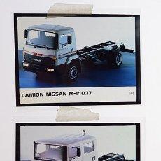 Coches y Motocicletas: NISSAN TRADE CAMIÓN M-140.17; M-130.17 DOBLE CABINA – 2 TRANSPARENCIAS 9 X 12 CM PARA PRENSA - 1991. Lote 128186023