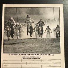 Coches y Motocicletas: III TROFEO MONTESA MOTO CROSS MOTOCROSS JUNIOR INSCRIPCION - ANUNCIO RECORTE PUBLICIDAD DE REVISTA. Lote 128678183