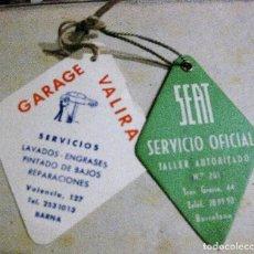 Coches y Motocicletas: TARJETA CONTROL CAMBIO ACEITE SEAT SERVICIO OFICIAL . GARAGE VALIRA AÑO 1965. Lote 128774731