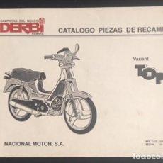Coches y Motocicletas: CATALOGO ORIGINAL DE PIEZAS DE RECAMBIO DERBI VARIANT TOP DE 1992 . Lote 129151735