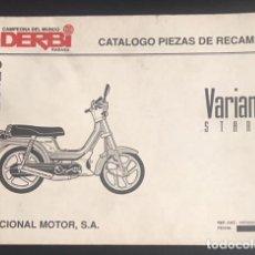 Coches y Motocicletas: CATALOGO ORIGINAL DE PIEZAS DE RECAMBIO DERBI VARIANT START DE 1993. Lote 129151775