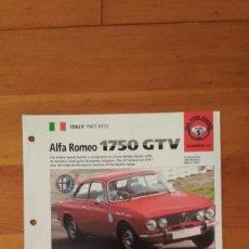 Coches y Motocicletas: LAMINA ALFA ROMEO 1750 GTV. Lote 129516151