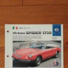 Coches y Motocicletas: LAMINA ALFA ROMEO SPIDER 1750. Lote 129517367