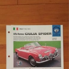 Coches y Motocicletas: LAMINA ALFA ROMEO GIULIA SPIDER. Lote 129517867