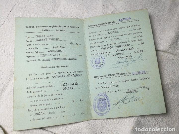 Coches y Motocicletas: CARTILLA TRACTOR MASSEY HARRIS ---LERIDA 1957 - Foto 3 - 129577043