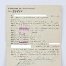 Coches y Motocicletas: CERTIFICADO DE CARACTERÍSTICAS - MOTO ECHASA - ECHAVE, ARIZMENDI Y CÍA, EIBAR - GUIPÚZCOA, 1958. Lote 130487698