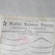 Coches y Motocicletas: CATALOGO FABRICA BALLESTAS MUELLES Y RESORTES LARRINAGA Y COMPAÑIA BILBAO 192?. Lote 130565030