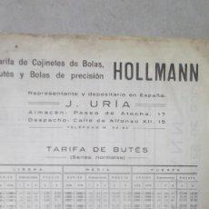 Coches y Motocicletas: TARIFA COJINETES DE BOLAS Y BUTES HOLLMAN REPRESENTNTE EN ESPAÑA J URIA MADRID 1923. Lote 130565470