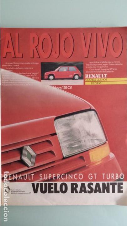 ANUNCIO PUBLICIDAD RENAULT 5 SUPERCINCO GT TURBO ROJO (Coches y Motocicletas Antiguas y Clásicas - Catálogos, Publicidad y Libros de mecánica)