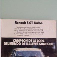 Coches y Motocicletas: ANUNCIO PUBLICIDAD RENAULT 5 SUPERCINCO GT TURBO RALLYE. Lote 130808480