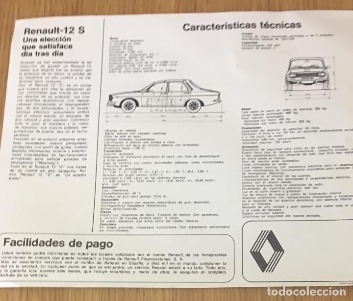 Coches y Motocicletas: Folleto catálogo publicidad original renault 12 s de 1975 - Foto 2 - 194003490
