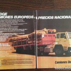 Coches y Motocicletas: RECORTE PRENSA PUBLICIDAD CAMIONES DODGE DOBLE PAGINA (28X21 CMS.)X2 . Lote 131029712