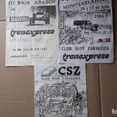 Coches y Motocicletas: LOTE 3 BOLETINES CLUB SLOT ZARAGOZA 1986 Y TRENEXPRESO EXCALEXTRIC. Lote 131046816