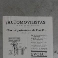 Coches y Motocicletas: CATALOGO ORIGINAL PULVERIZADOR DE GASOLINA AUTOMOVIL EVOLUT 1933 . Lote 131048140