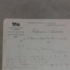 Coches y Motocicletas: CARTA COMERCIAL FULGENCIO ANDALUZ ALHAMA DE ARAGON EMPRESA DE COCHES Y AUTOMOVILES 1923. Lote 131049204