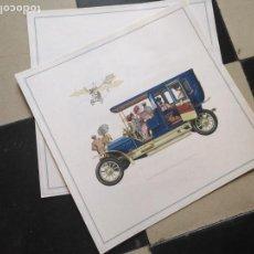 Coches y Motocicletas: ANTIGUA LAMINA CARTEL PUBLICITARIO COCHE OPEL ( MODELOS ANTIGUOS )- ORIGINAL AÑOS 60 - 33 X 33 CM . Lote 131115628