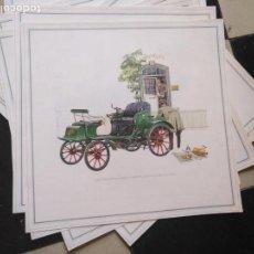Coches y Motocicletas: ANTIGUA LAMINA CARTEL PUBLICITARIO COCHE OPEL ( MODELOS ANTIGUOS )- ORIGINAL AÑOS 60 - 33 X 33 CM . Lote 131115896