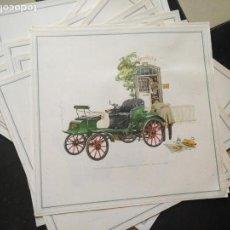 Coches y Motocicletas: ANTIGUA LAMINA CARTEL PUBLICITARIO COCHE OPEL ( MODELOS ANTIGUOS )- ORIGINAL AÑOS 60 - 33 X 33 CM . Lote 131115984