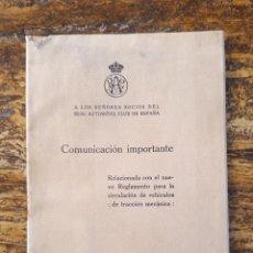 Coches y Motocicletas: REAL AUTOMÓVIL CLUB DE ESPAÑA 1918 LOTE DE DOS PUBLICACIONES REGLAMENTO CIRCULACIÓN DE VEHÍCULOS . Lote 131166412