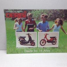 Coches y Motocicletas: FOLLETO PUBLICITARIO MOTO DERBI CICLOMOTORES - ORIGINAL . Lote 132302606