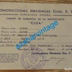Coches y Motocicletas: 1956, TARJETA DE GARANTIA MOTOCICLETA CLUA, RARA. Lote 135050798
