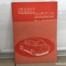 Coches y Motocicletas: SEAT 850 D MANUAL DE USUARIO 1972. Lote 135547246