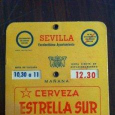Coches y Motocicletas: SEVILLA. DISCO CONTROL DE ESTACIONAMIENTO. CERVEZA ESTRELLA SUR.. Lote 135712099