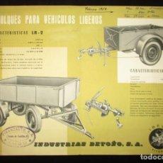 Coches y Motocicletas: REMOLQUES BETOÑO PARA VEHÍCULOS LIGEROS. HOJA PUBLICITARIA ORIGINAL DE 1959. IBESA, VITORIA.. Lote 136397118