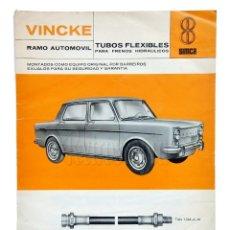 Coches y Motocicletas: CATÁLOGO TUBOS FLEXIBLES FRENOS ACCESORIOS PARA AUTOMÓVILES VINCKE. SIMCA DODGE AÑO 1968. Lote 136526438