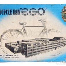 Coches y Motocicletas: CATÁLOGO DESPLEGABLE PUBLICIDAD BICICLETAS EGO. GARATE ANITUA Y CIA. EIBAR GUIPÚCOA. Lote 136526514