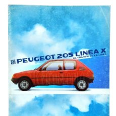Coches y Motocicletas: CATALOGO PUBLICIDAD PEUGEOT 205 LINEA X AÑO 1985 EN CASTELLANO . Lote 136590834