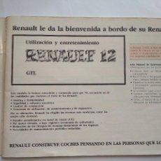 Coches y Motocicletas: UTILIZACIÓN Y ENTRETENIMIENTO DEL RENAULT 12 GTL - 1983. Lote 137201630