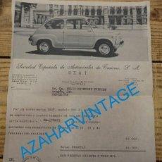 Coches y Motocicletas: FACTURA DE LA COMPRA DE UN SEAT 600 MODELO 600 D SEVILLA DICIEMBRE 1966 TOTAL 63.000 PESETAS. Lote 137638994