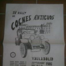 Coches y Motocicletas: CARTEL RALLY DE COCHES ANTIGUOS.1986.VALLADOLID. Lote 137946938
