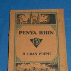 Coches y Motocicletas: CATALOGO PROGRAMA PENYA RHIN II GRAN PREMI 1922 VILAFRANCA DEL PENEDES , COCHES. Lote 138048138