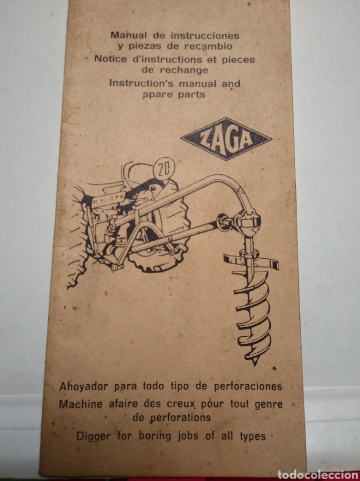ZAGA. AHOYADOR PERFORACIONES. MANUAL DE INSTRUCCIONES Y PIEZAS DE RECAMBIO. (Coches y Motocicletas Antiguas y Clásicas - Catálogos, Publicidad y Libros de mecánica)