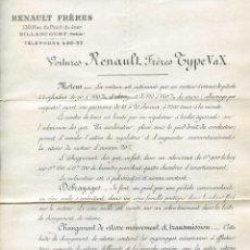 Coches y Motocicletas: RENAULT FRÈRES TYPE V ET X, 1905 DOCUMENTO CON ESPECIFICACIONES TÉCNICAS COCHE X-B Nº 8730, MUY RARO. Lote 138797190